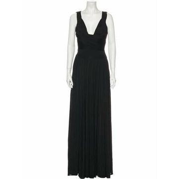 V-Neck Long Dress w/ Tags Black
