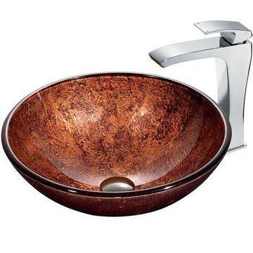 VIGO Mahogany Moon Circular Vessel Bathroom Sink
