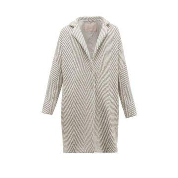 Herno - Snowflake Metallic Wool-herringbone Jacket - Womens - Silver Multi