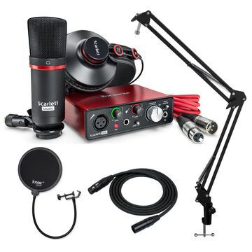 Focusrite Scarlett Solo Studio with Knox Studio Stand Pop Filter and XLR Cable