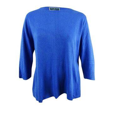 Karen Scott Women's Plus Size Luxsoft Rolled-Neck Sweater (3X, Deep Pacific) - Deep Pacific - 3X