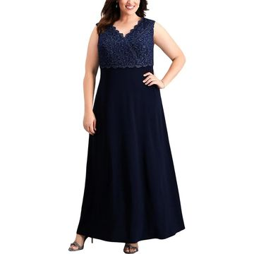 Alex Evenings Womens Plus Evening Dress Lace Glitter
