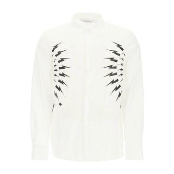 Neil barrett thunderbolt dual material shirt
