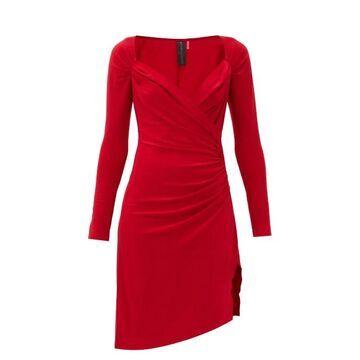 Norma Kamali - Sweetheart-neckline Draped-jersey Dress - Womens - Red