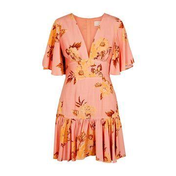 Forever pink floral-print mini dress