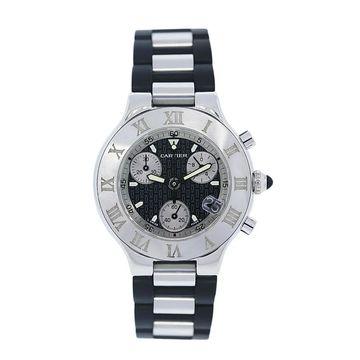 Cartier Men's W10125U2 '21 Must Chronoscaph' Chronograph Two-Tone Rubber Watch