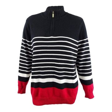 Karen Scott Women's Plus Size Striped Half-Zip Sweater (1X, New Red Amore Combo) - New Red Amore Combo - 1X