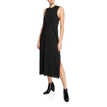 Speckled Sleeveless Side-Split Maxi Dress w/ Pocket