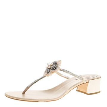 Rene Caovilla Cream Leather Crystal Embellished Thong Sandals Size 38.5