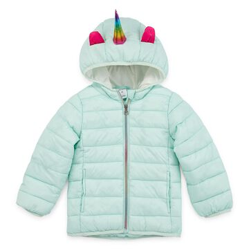 Okie Dokie - Girls Hooded Midweight Puffer Jacket-Toddler