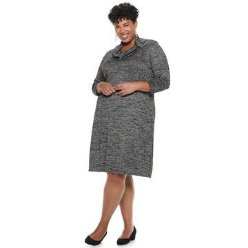 Plus Size Dana Buchman Cowlneck Shift Dress