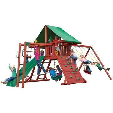Gorilla Playsets Sun Valley II Wooden Swing Set with Green Vinyl Canopy and Monkey Bars - Red