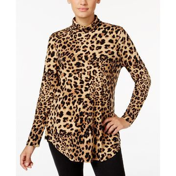 Petite Printed Turtleneck Top, Created for Macy's