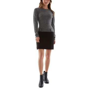 Bcx Juniors' Button-Trim Colorblocked Sweater Dress