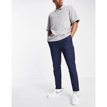 Selected Homme nylon pant in slim tapered navy