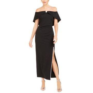 Msk Embellished Off-The-Shoulder Gown