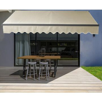 ALEKO Black Frame 13 x 10 ft Retractable Home Patio Canopy Awning Ivory (Ivory)
