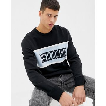 Abercrombie & Fitch chest stripe logo sweatshirt in black/blue