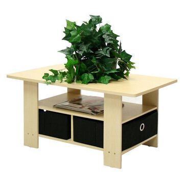 Furinno Petite Coffee Table, Steam Beech and Black