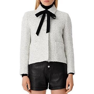 Maje Vadka Ribbon Tie Boucle Tweed Jacket