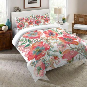 Laural Home Bohemian Poppies Twin Comforter in Pink