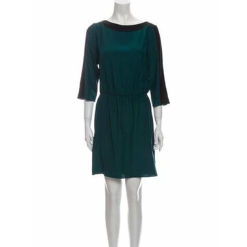 Bateau Neckline Mini Dress Green