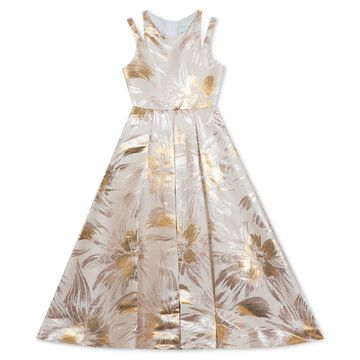 Big Girls Brocade Pleated Gown