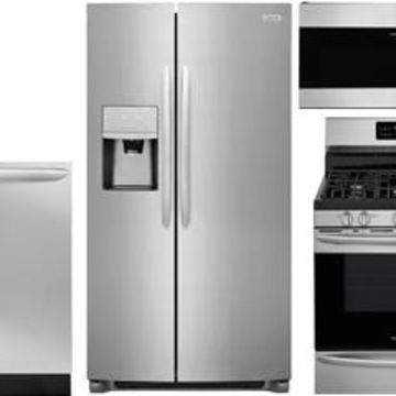 Frigidaire Gallery Stainless Steel Side-By-Side Counter Depth Refrigerator with Gas Range Package