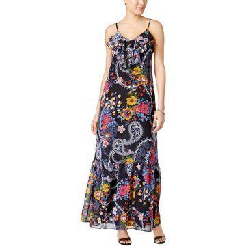 ECI Womens Floral Ruffled Maxi Dress