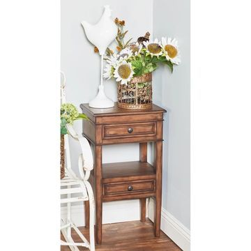 Farmhouse 29 Inch Brown Wooden Side Table with Drawers by Studio 350