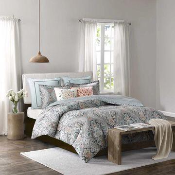 Echo Design Sterling Deep Green Cotton Sateen Printed Duvet Set