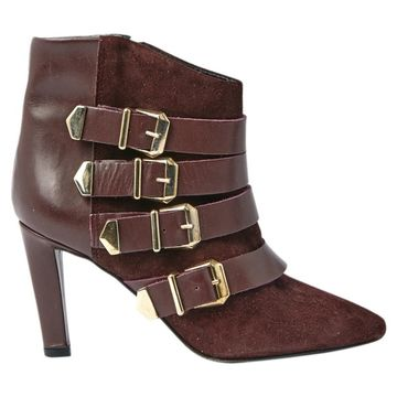 The Kooples Burgundy Leather Ankle boots