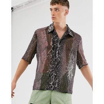 Reclaimed Vintage spliced animal print shirt-Multi