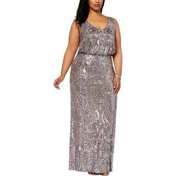 Betsy & Adam Womens Plus Sleeveless Full-Length Evening Dress