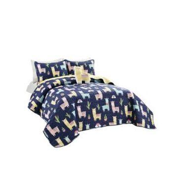 Lush Decor Make A Wish Southwest Llama Cactus 4 Piece Quilt Set for Kids, Full/Queen Bedding