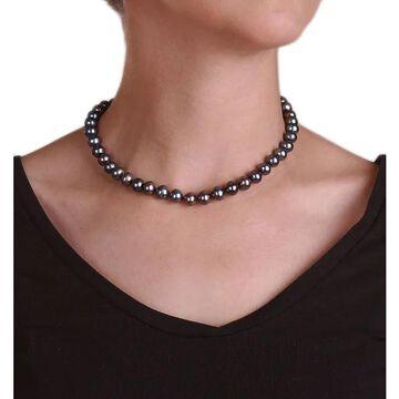 DaVonna 14k Gold Cultured Freshwater Black Pearl Necklace (9-10 mm) (16 Inch - 9-9.5 MM - Black)