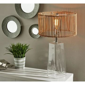 Adesso Glass & Brushed Steel Cuba Tapered Table Lamp