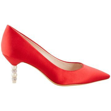 Sophia Webster Pearl Red Satin Pumps, Brand Size 36 ( US Size 5.5 )