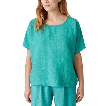 Eileen Fisher Organic Linen Round-Neck Boxy Top