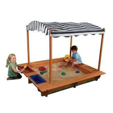 KidKraft Outdoor Covered Wooden Sandbox with Bins and Striped Canvas Canopy, Navy & White