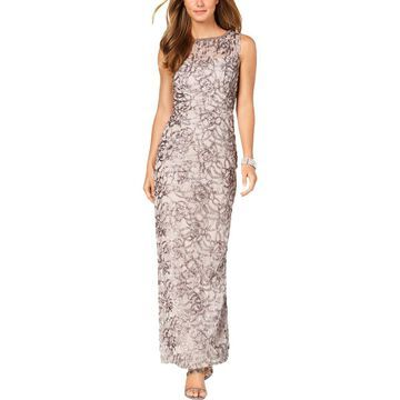 SL Fashions Womens Lace Sheer Formal Dress