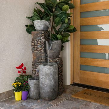 """Alpine Corporation 42"""" Tall Outdoor 4 Tier Stone Bowl Fountain with LED Lights"""