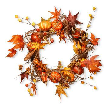 National Tree Company Maple Leaf and Pumpkin Wreath