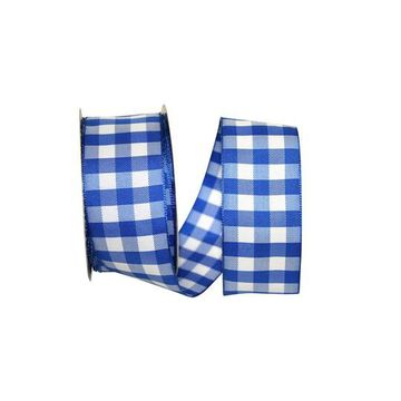 """JAM Paper 1.5"""" Wired Gingham Checks Ribbon in Blue   1.5"""" x 10yd   Michaels"""