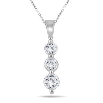Marquee Jewels 10k White Gold 1/2ct TDW Diamond Graduated 3-stone Pendant
