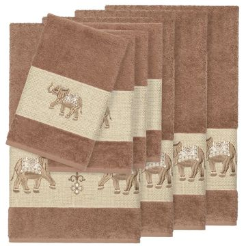Authentic Hotel and Spa Turkish Cotton Elephants Embroidered Latte Brown 8-piece Towel Set