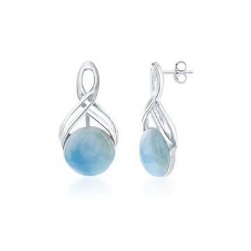 La Preciosa Sterling Silver Infinity designed Natural Larimar Round Dangle Earrings