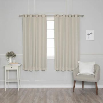 Aurora Home Silver Grommet Woven Lined Blackout Curtain Panel Pair