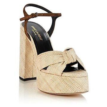 Saint Laurent Women's Bianca High Block Heel Platform Sandals