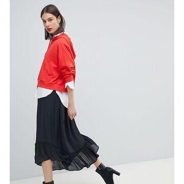 Esprit Frill Hem Midi Skirt-Black
